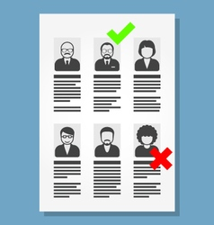 Job placement and hiring people - list of cv files vector
