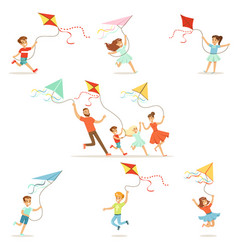 Kids and their parents running with kite happy and vector