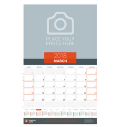 march 2018 wall monthly calendar planner for 2018 vector image vector image