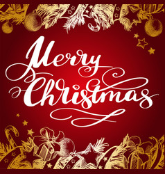 merry christmas calligraphic text lettering vector image