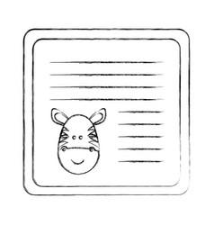Monochrome blurred card with male zebra head vector