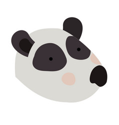 panda cartoon head colorful silhouette in white vector image