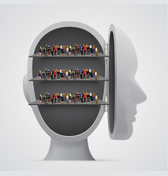 people crowd on shelves inside head vector image