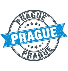 Prague blue round grunge vintage ribbon stamp vector