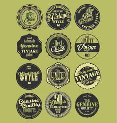 Premium quality retro badges collection green set vector