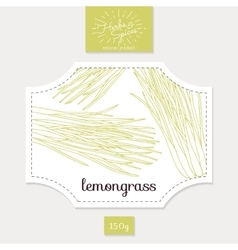 Product sticker with hand drawn lemongrass leaves vector