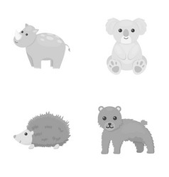 Rhino koala panther hedgehoganimal set vector