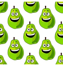 Seamless pattern of happy green pears vector image vector image