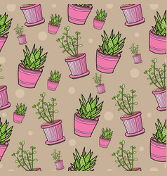 Seamless pattern with house plants in pink pots vector