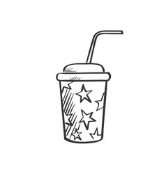 Soda fountain drink doodle drawing vector