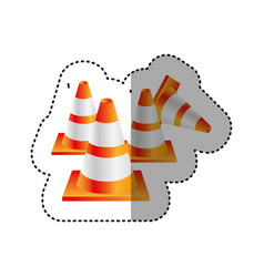 Sticker colorful realistic striped traffic cone vector