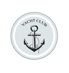yacht club logo anchor on a white vector image vector image