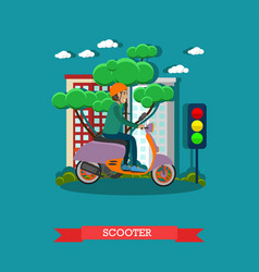 Young man riding scooter in vector