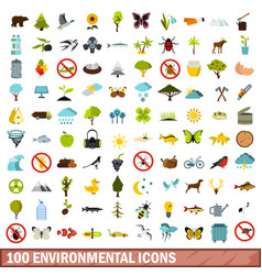 100 environmental icons set flat style vector