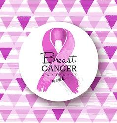 Breast cancer awareness pink ribbon badge art vector image