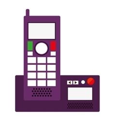 Silhouette office telephone with wired vector
