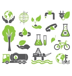 Green planet symbols vector image