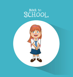 Back to school student girl diadem smile uniform vector