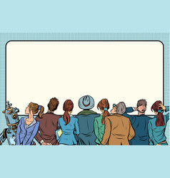 retro group of people are watching on the silver vector image
