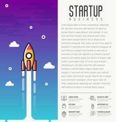 Rocket launch concept of start up business vector