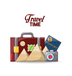 Briefcase with passport and camera vector