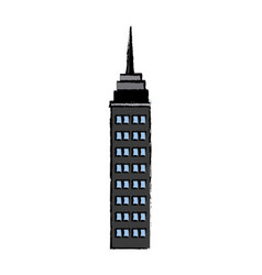Drawn building skyscraper business structure real vector