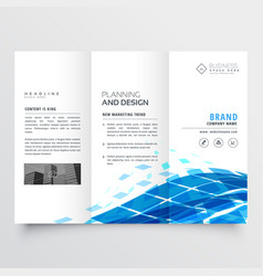 Corporate tri fold brochure design with blue vector