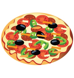 Pizza with olives vector