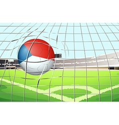 A ball at the field with the flag of Netherlands vector image