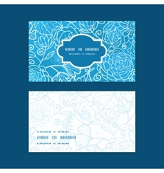 Blue field floral texture horizontal frame pattern vector