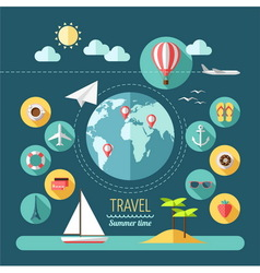 Planning a summer vacation travelling vector
