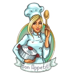 Pretty chef with pot and spoon vector