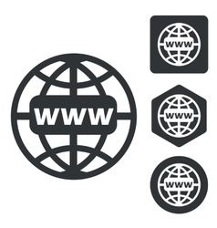 Global network icon set monochrome vector