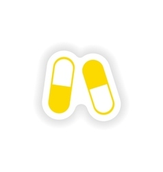 Icon sticker realistic design on paper pills vector