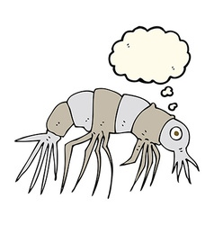 Cartoon shrimp with thought bubble vector