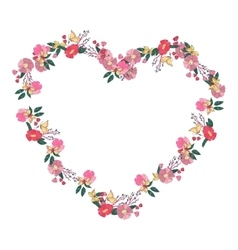 Floral heartshaped wreath made of wildflowers vector