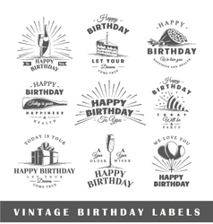Set of vintage birthday labels vector