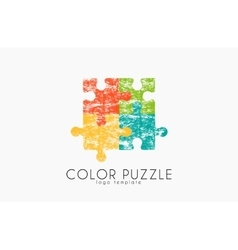 Puzzle logo color puzzle design creative logo vector