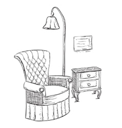 Hand drawn room interior reading place sketch vector