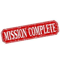 Mission complete red square vintage grunge vector