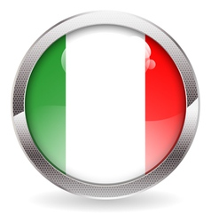 Gloss button with italy flag vector