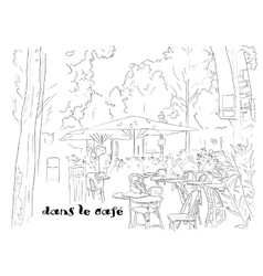 Cafe on the champs-elysees vector