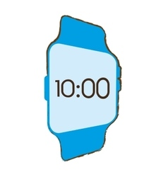 Blue digital smart watch time screen vector