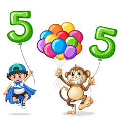 boy and monkey with balloon number five vector image vector image
