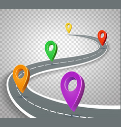 Business roadmap 3d pointers on transparent vector