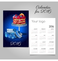 Calendar 2016 with picture of fruit cake and gift vector