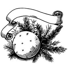 Christmas ball and ribbon vector image