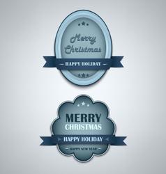 Christmas blue vintage retro design style element vector image vector image