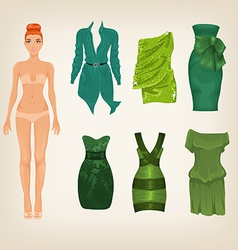 dress up paper doll with an assortment of green vector image vector image