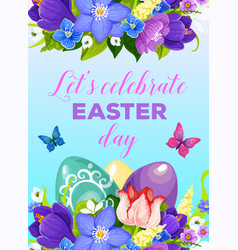 Easter paschal eggs flowers greeting poster vector